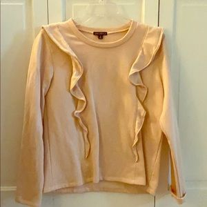 Sweatshirt material with ruffles